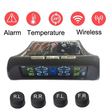 Car Tire Pressure Monitor for Sale Temperature Sensors Solar Charger Wireless System Colourful Display