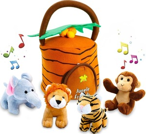 plush toys talking jungle animals toys set plays sounds