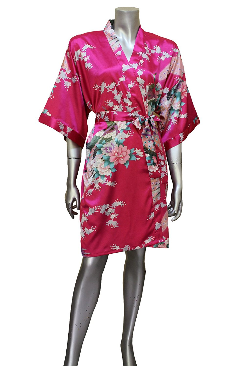 Get Quotations · Short Asian Peacock Kimono Women s Satin Silk Robe - One  Size - Violet Red 3e2cce699