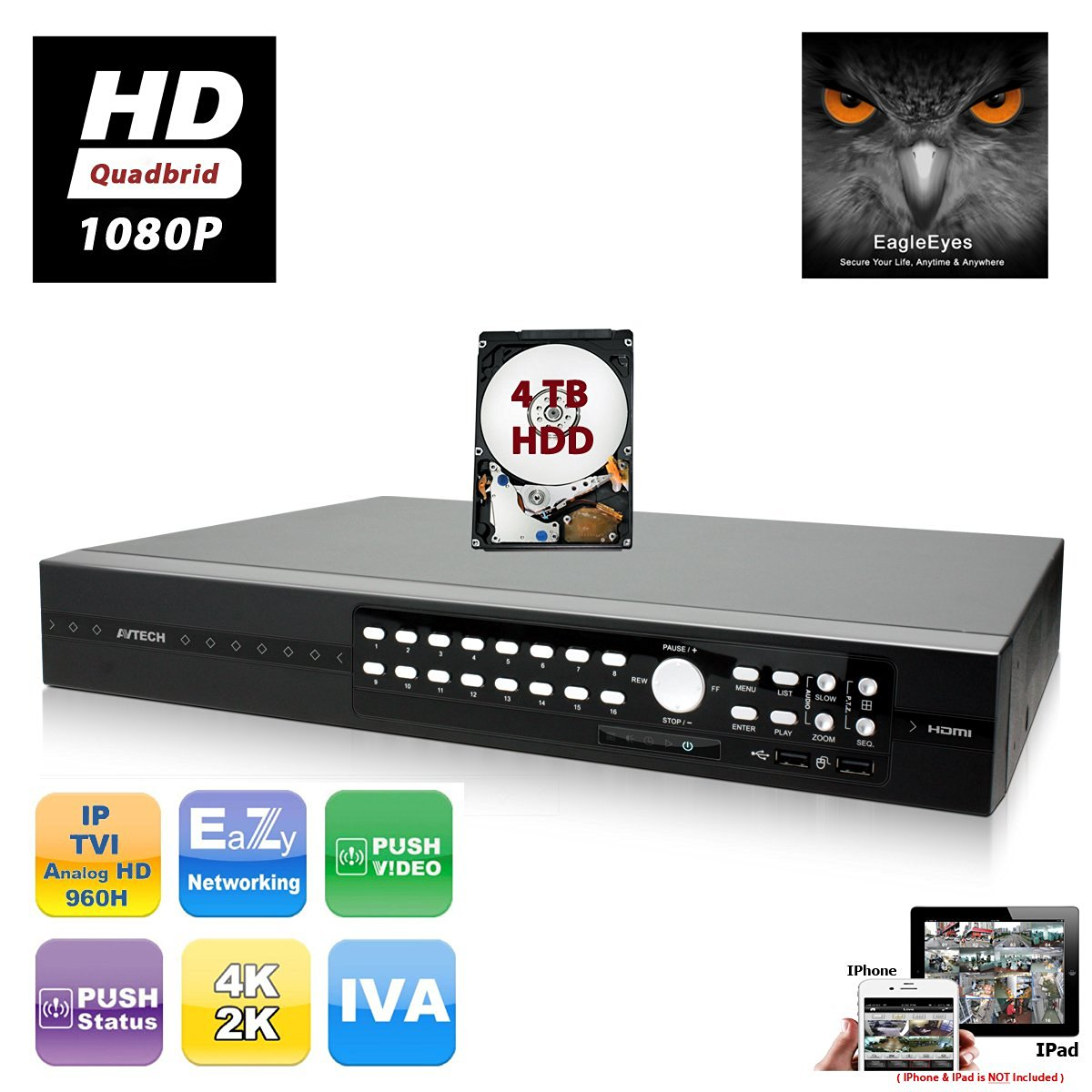 EVERTECH AVTECH H.264 16 Channel HD 1080P Quadbrid TVI + AHD + IP + Analog EagleEyes Push Video Security Digital Video Recorder Cloud support DVR for CCTV Mobile Phone Access w/4TB