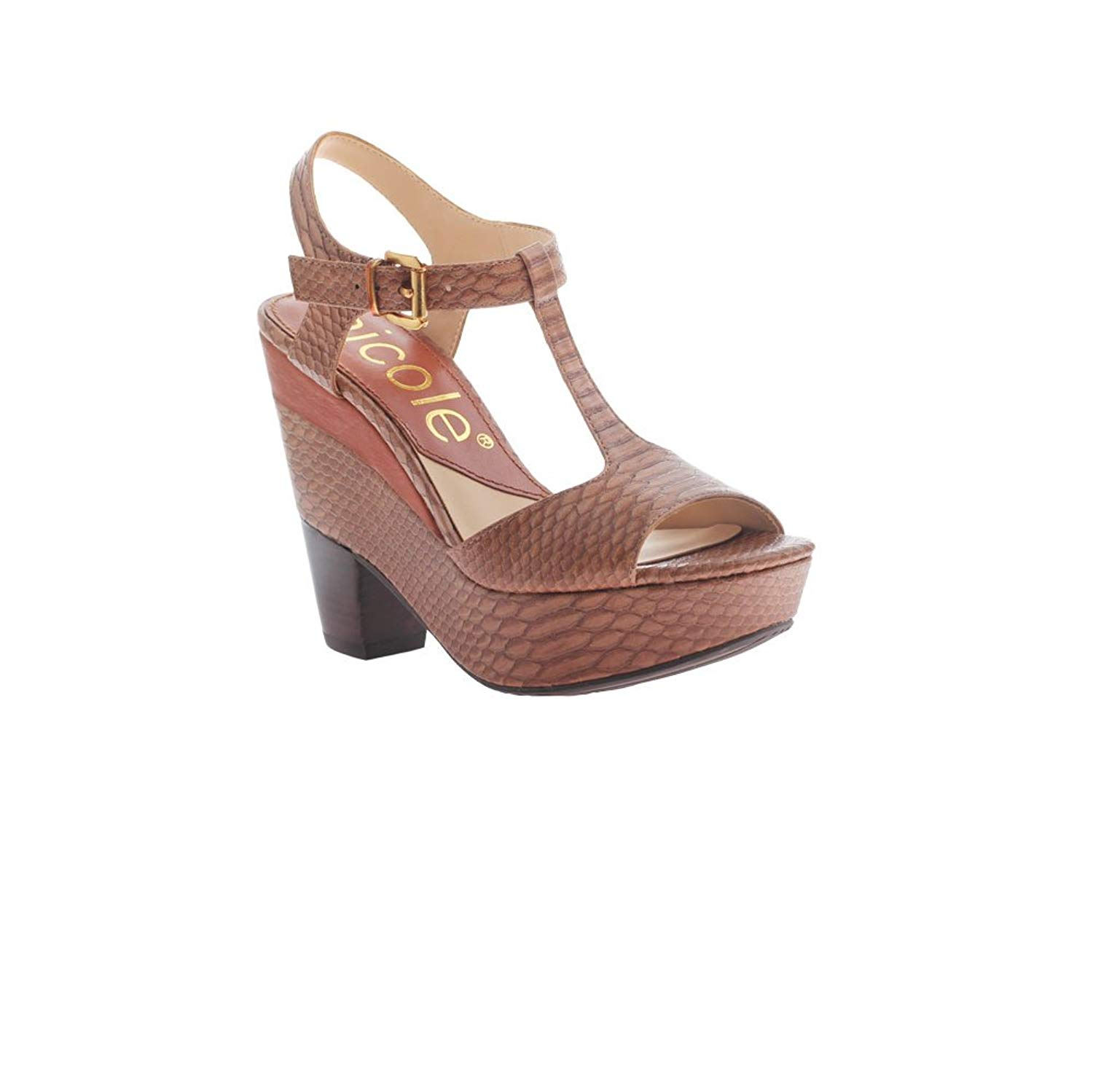 dc4fc7d93a9 Get Quotations · nicole Women s Gerry Wedge Sandal