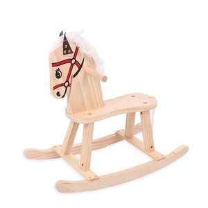 Nature Wooden Ride On Animal Swing Rocking Chair Horse Toy