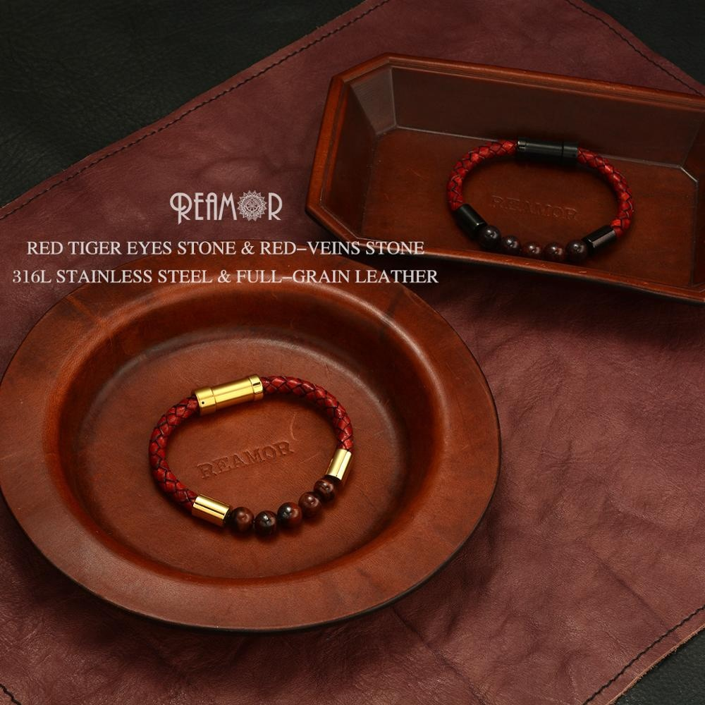REAMOR Stainless Steel Leather <strong>Bracelet</strong> Jewelry <strong>Red</strong> Braided Leather Cord Natural Stone <strong>Tiger</strong> <strong>Eye</strong> <strong>Bracelet</strong> Men Women <strong>Bracelets</strong>