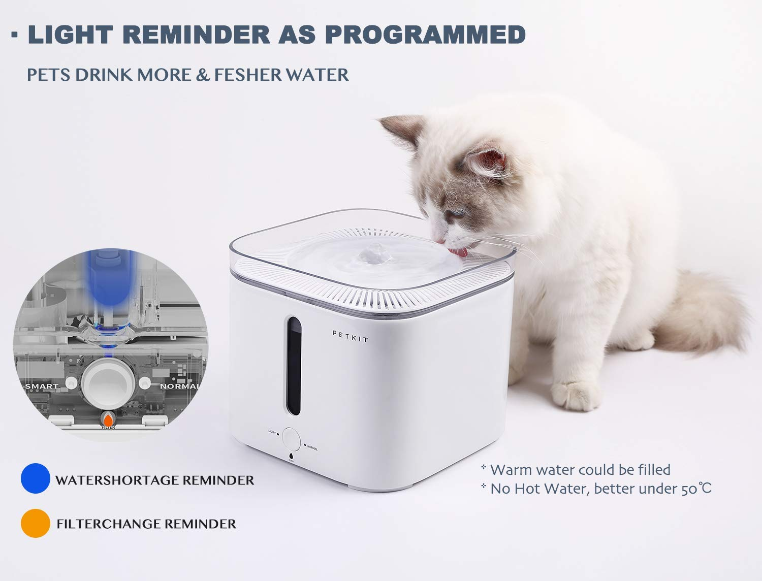 PETKIT Gen.2 Smart Drinking Pet Water Fountain with water purification and heating function