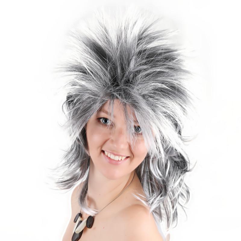 Wanita Pria Punk Rocker Sintetis Tahan Panas Rambut untuk Pesta Halloween  Amine Kostum Wig Gadis Wanita 11bcee9eda