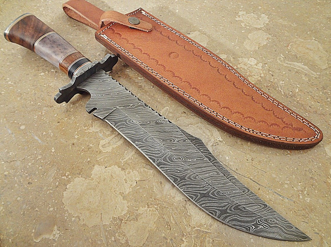 ColdLand Knives | One-of-a-Kind 15'' Custom Handmade Damascus Steel Bowie Hunting Knife HH12