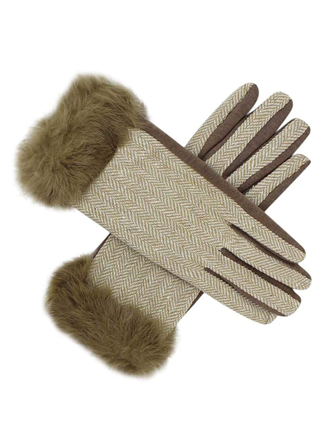 ff6d8bcfa0c Get Quotations · Beige Womens Two-Tone Winter Texting Gloves With Fur Trim