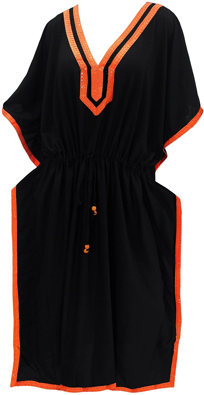003ac74e8c Get Quotations · La Leela Women's Rayon Plus Cover up Lounge Sleep Night  Wear Caftan Long Dress Black