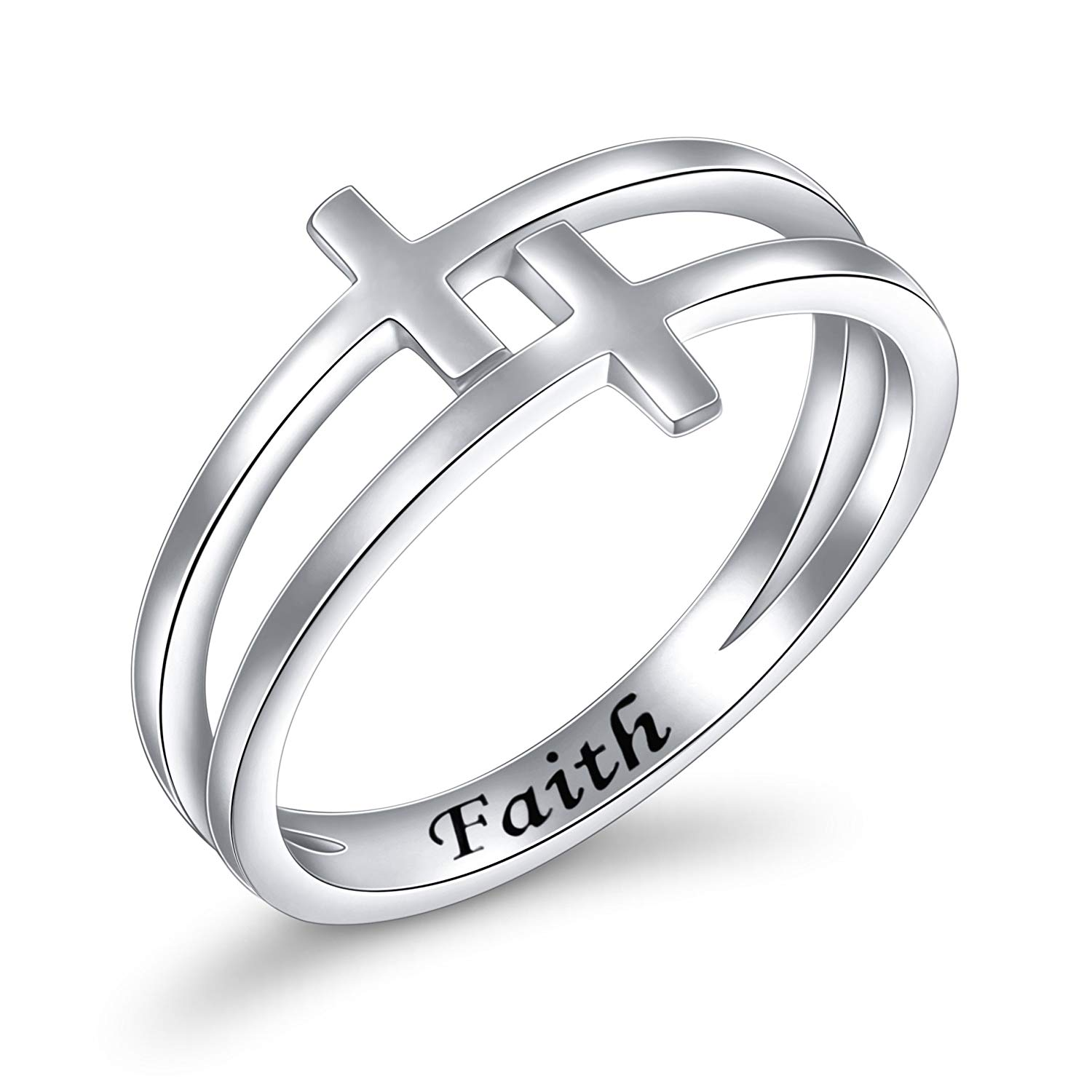 Inspirational Jewelry Sterling Silver Engraved Faith Double Cross Ring Christian Fashion Band Ring for Women Mother, Size 6-8