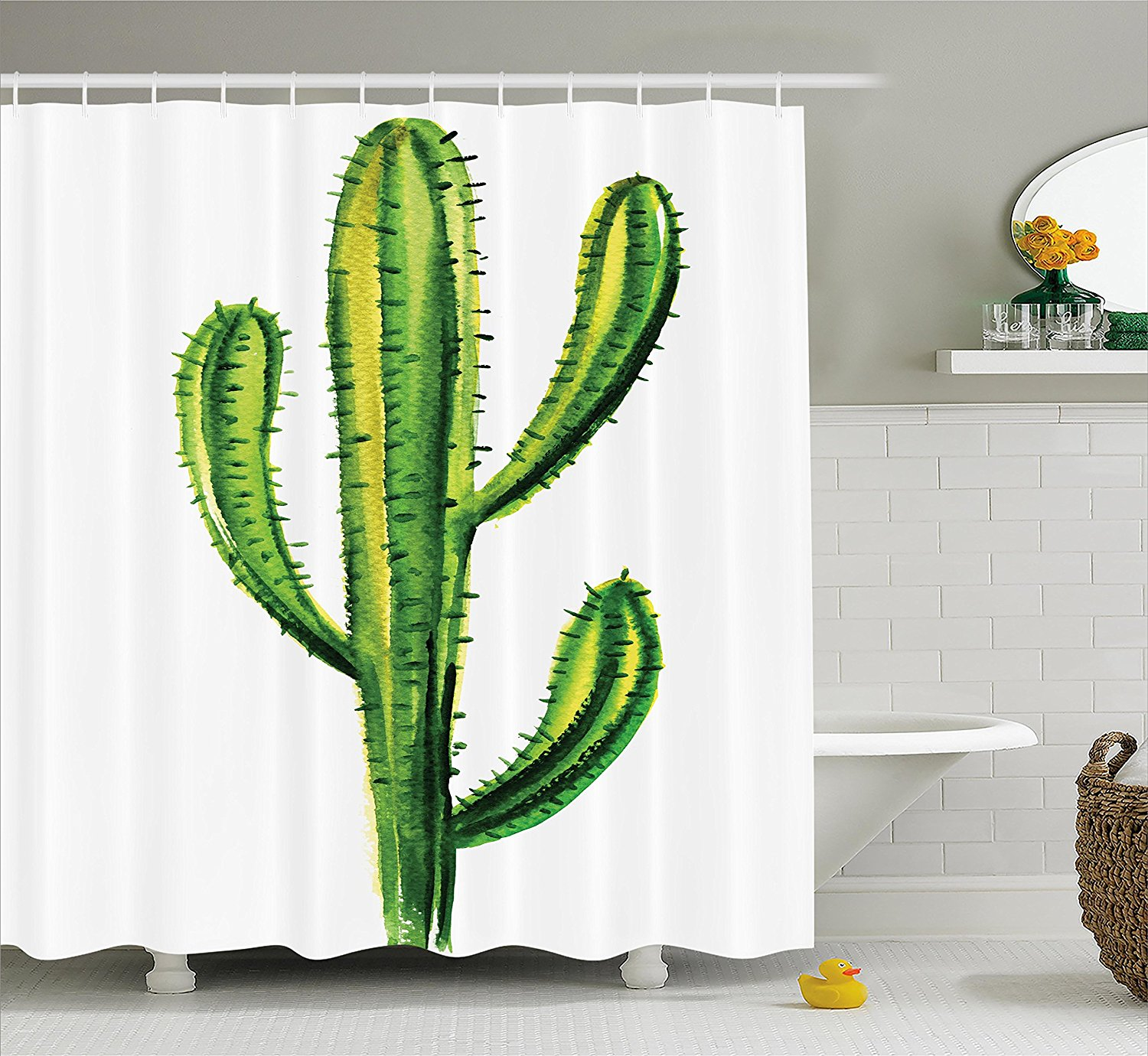 70 Long Green Ambesonne Cactus Shower Curtain Cloth Fabric