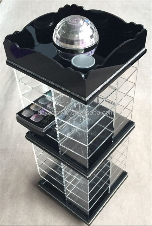 3 Layer 6 Compartment Cosmetic Lip Gross Holder Acrylic Cosmetic Organizer Clear Eyeshadow Display Lipstick Container