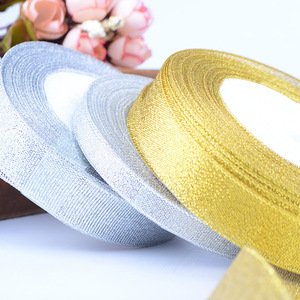 AL0010 Gift Cake Box Package Ribbon In Silver Gold MOQ 50 Rolls
