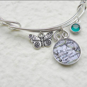Custom Personalized Map Charm Bracelet - Adjustable Charm Bangle - Choose your birthstone location