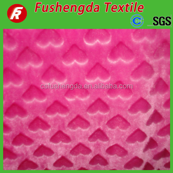 embossed pv plush fabric