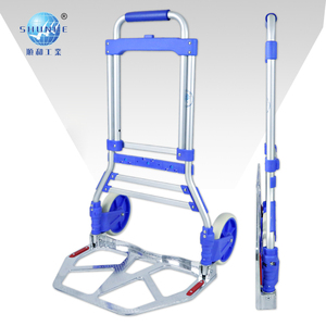 90C 2019 Warehouse Aluminum blue and black two-wheel shopping folding hand cart