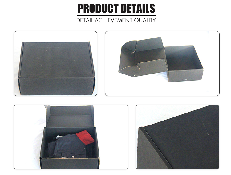 HXP coated paper black cardboard simple design suit packing carton box with tear line