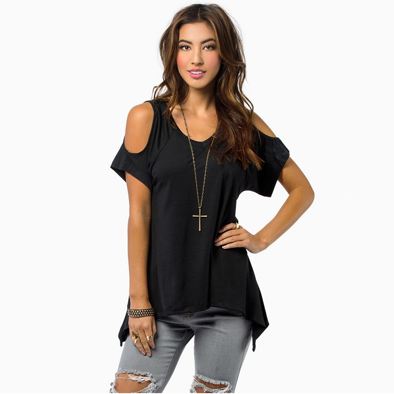 Delicate Promotion 2015 Summer Sexy T Shirt Women Casual V-Neck Off Shoulder T-Shirt Fashion Short Sleeve Solid Stretch T-Shirt
