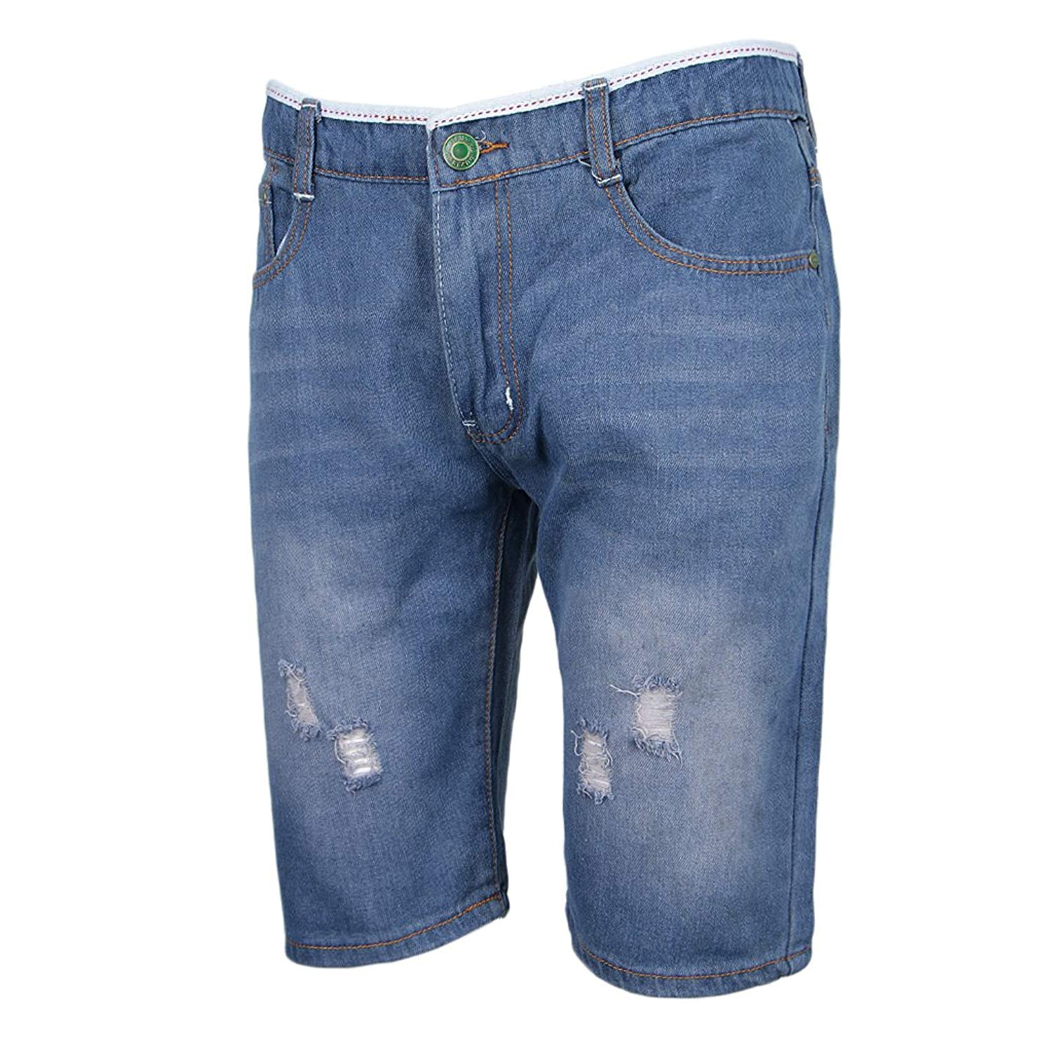 16fc4489 Get Quotations · Homyl Men's Casual Denim Shorts Ripped Short Jeans  Straight Legs