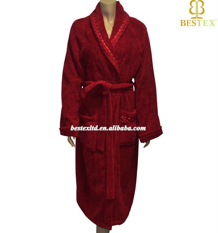Custom Soft Warm Cotton Terry Towelling Adult Men Red Bathrobe ...