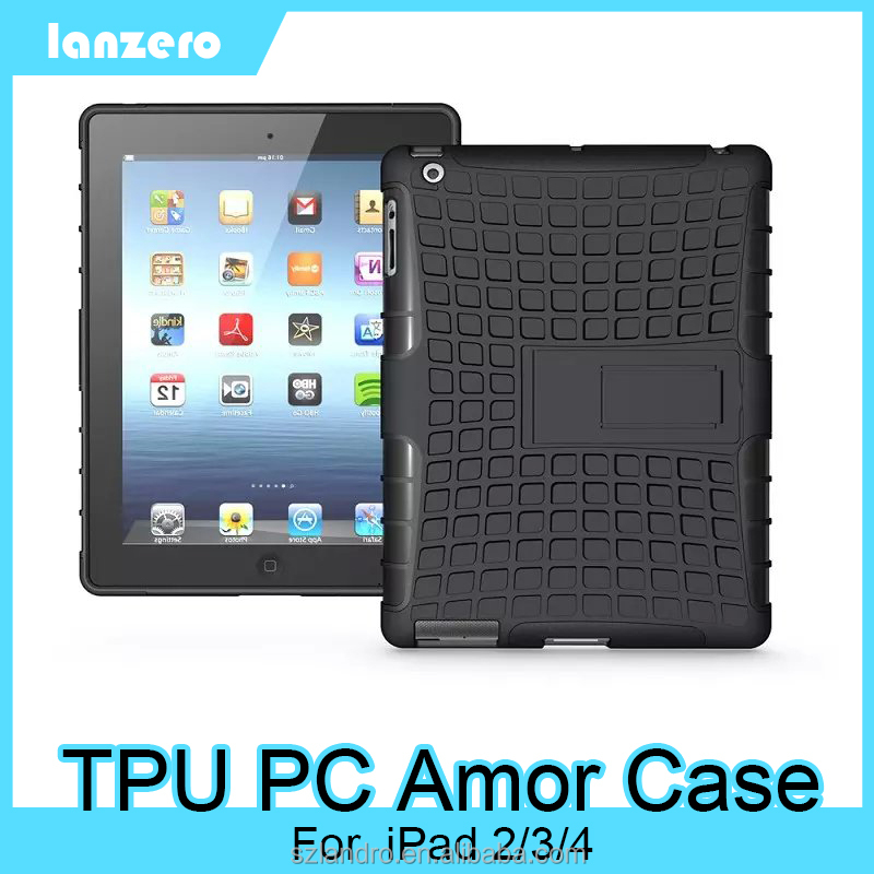 TPU PC Hybrid Armor Case For iPad 2/3/4,Shock&Bump&Scratch-Resistant,Best Protector for Tablet