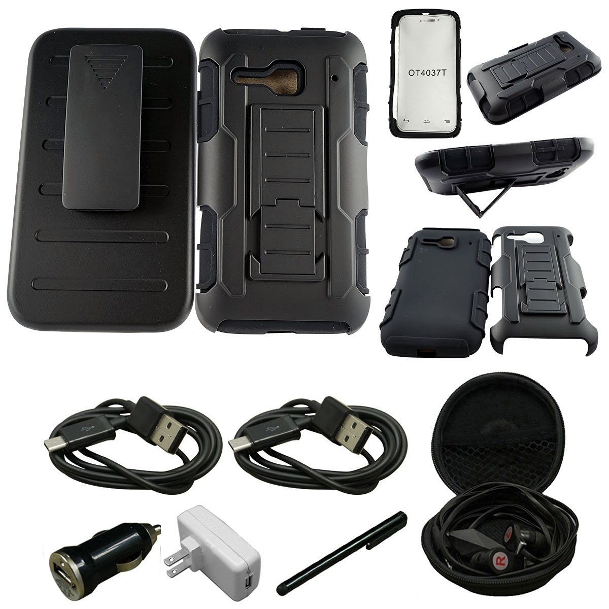 For LG TRIBUTE LS660/F60/MS395 - [Kickstand] [Heavy Duty] [Dual Layer] Combo Holster Cover case with [Locking Belt Swivel Clip] - Includes + [Car Charger Data Cable] + [Touch Screen Stylus] + [Wall Plug] + [2 Data Cables] + [Hands Free Earphone] (ARMOR BLACK)