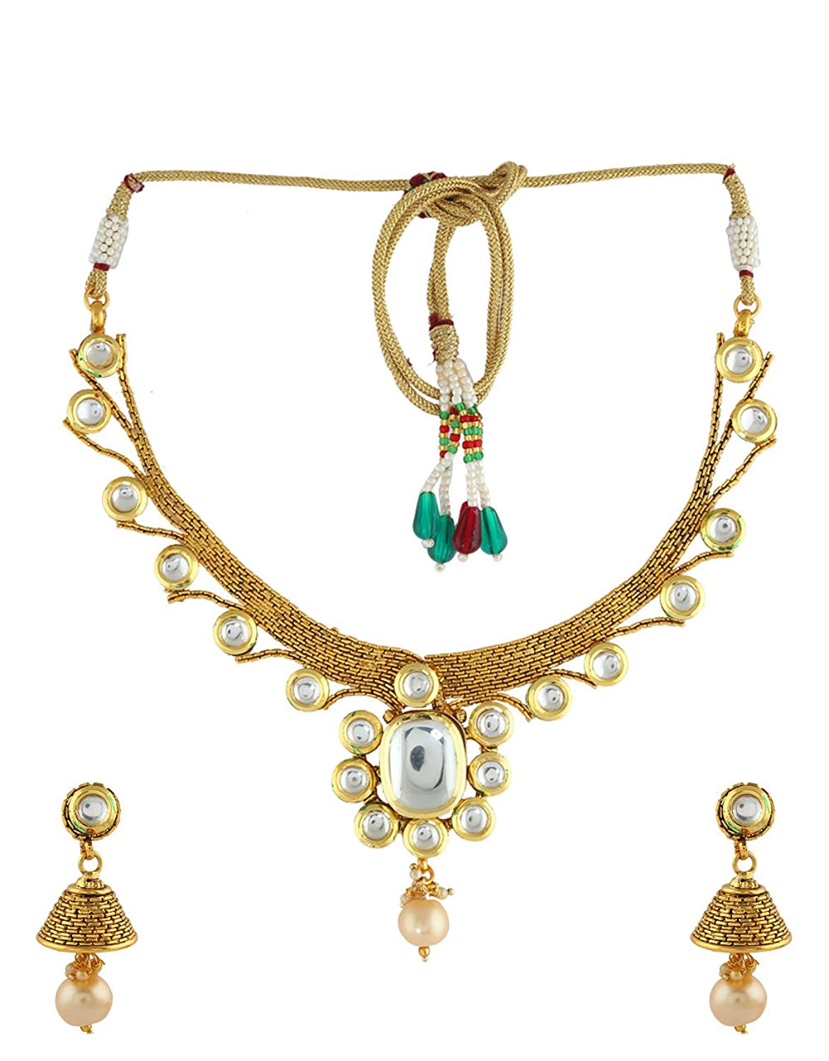 Anuradha Art Golden Finish Styled With Studded White Colour Kundan Designer Traditional Necklace Set For Women/Girls
