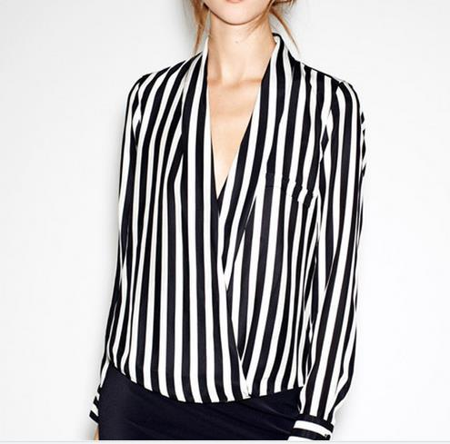 f766c8a52f3 Get Quotations · Brand 2015 summer women blouse deep V-neck long-sleeved  black and white striped