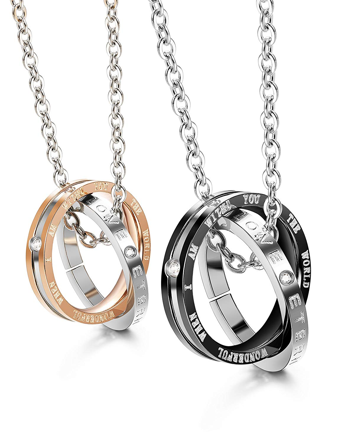 b967bd31cd Get Quotations · Finrezio Matching Set Couples Necklace for Him&Her Korean  Ring Pendant Necklace Jewelry Made of Stainless Steel