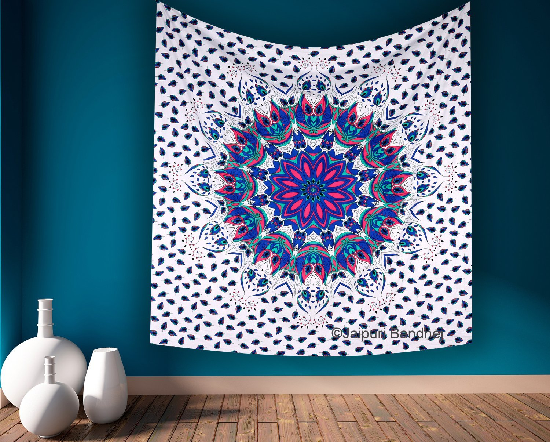 Bohemian Mandala Peacock Tapestry, Floral Indian Wall Hanging, Hippie Throw Indian Bedsheet, Wall Decor, Sofa Table Coverlet, Hippy Mandala Twin Bedsheet Bedspread
