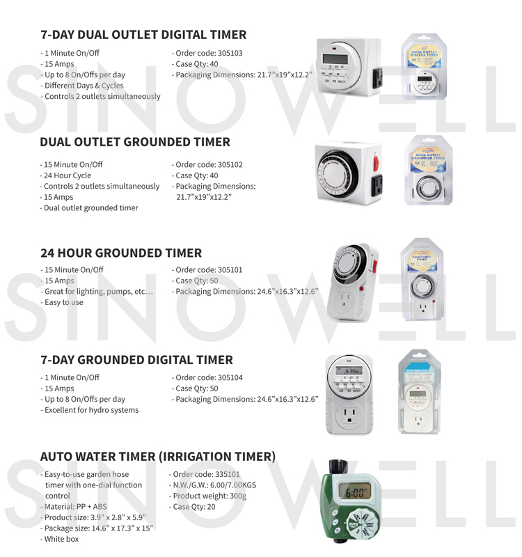 Honest Supplier SINOWELL Quality First Digital Timer Socket