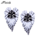 E1941 New designs wholesale leaf rhinestone drop stud earrings fashion accessories