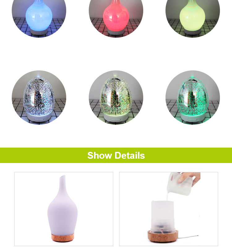 ShenZhen Qinhongda 120ml 3D glass essential oil diffuser, Ultrasonic aroma humidifier for office home bedroom