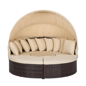 New style round shape lounge chair PE rattan beach day bed with canopy for sea beach