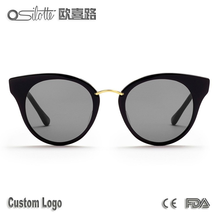 Handcrafted Japanese acetate temples woman sunglasses round reckless cat eye style sunglasses
