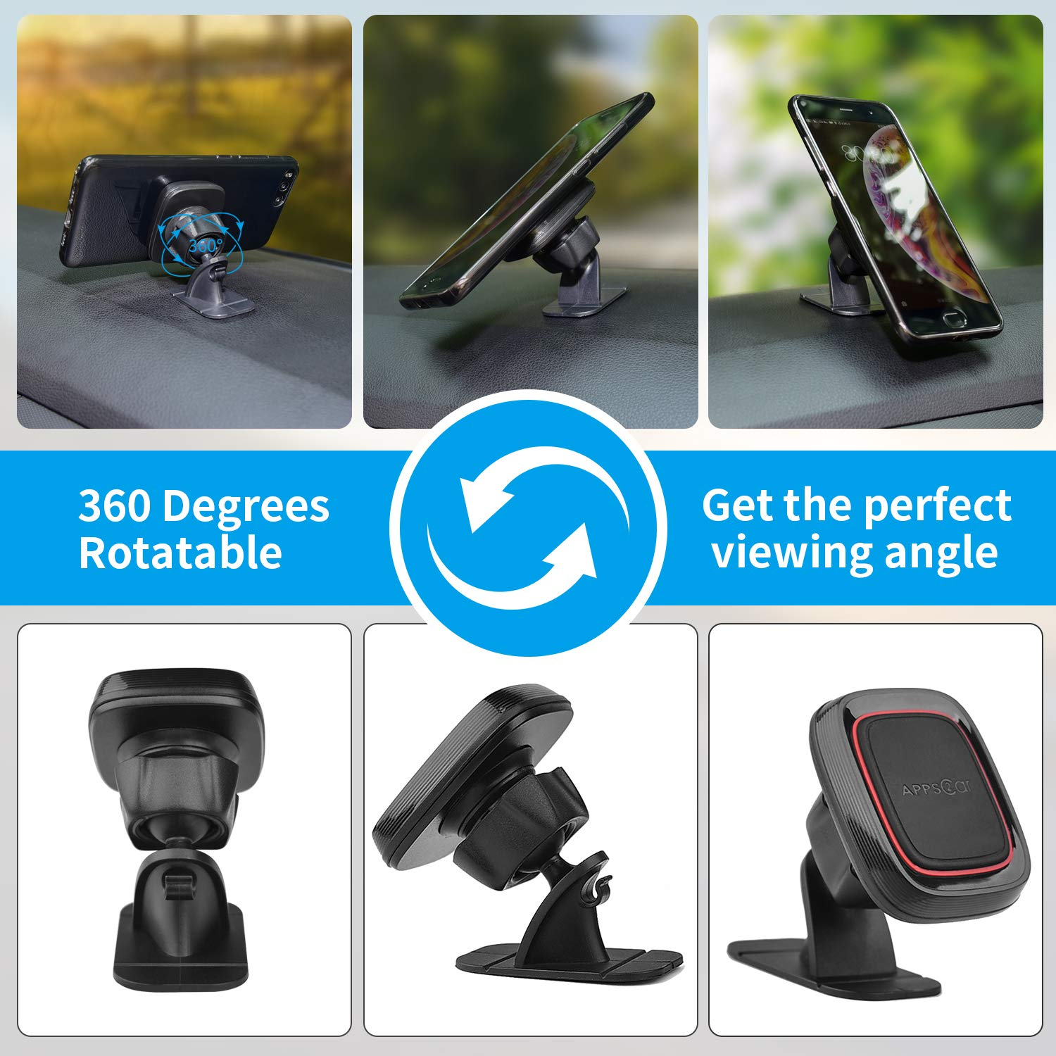 360 degree rotatable magnetic dashboard sticker car mobile phone holder muont for car gps tablet