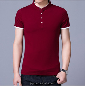 2018 men's summer casual clothing with mandarin collar mercerized cotton polo t shirt