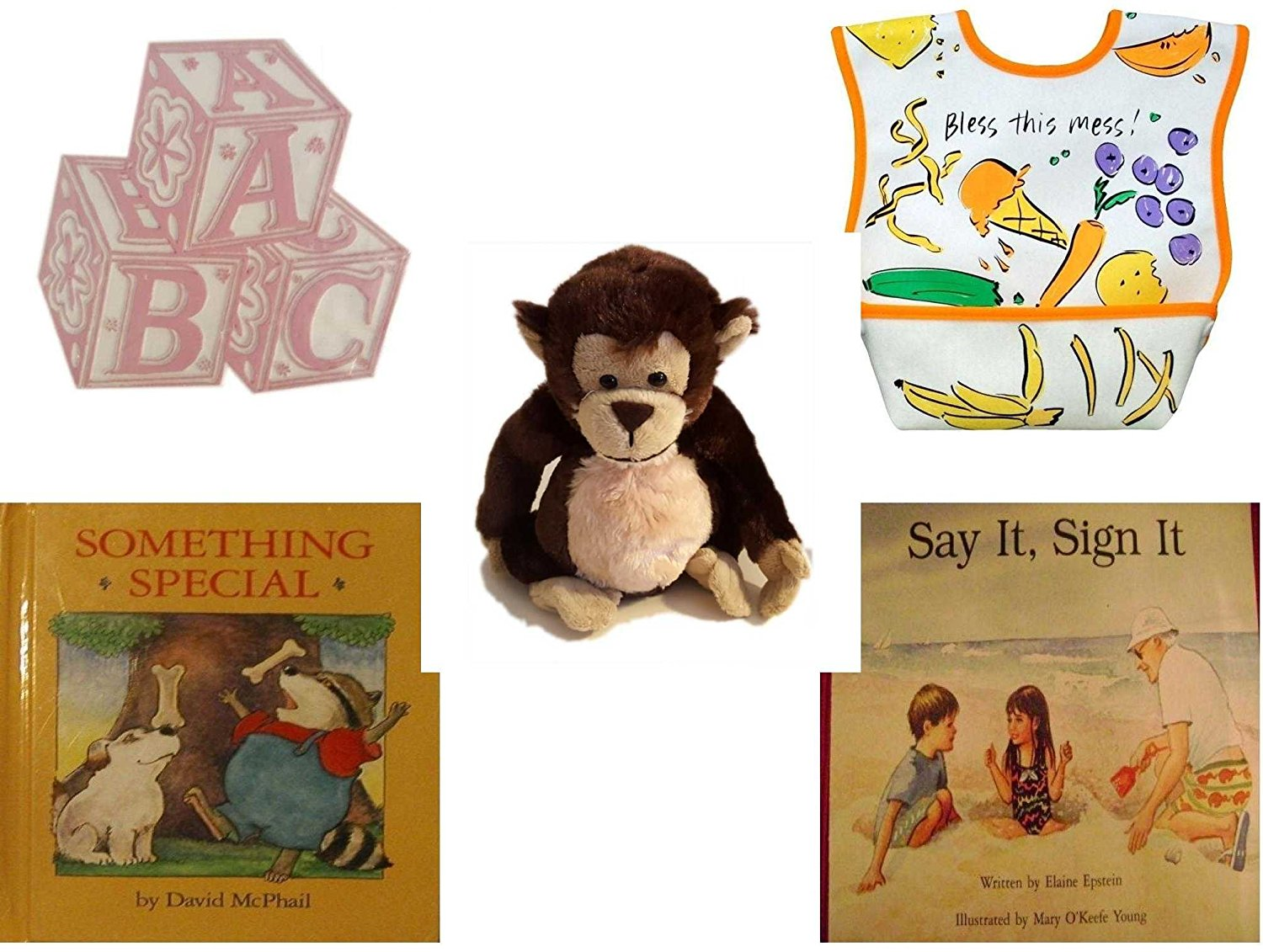 Children's Gift Bundle - Ages 0-2 [5 Piece] - ABC Baby Blocks Cake Topper Pink Girl - Dex Dura Bib Large for ages 6 - 24 Months - Bless This Mess - Ganz Adorable Chimpanzee Plush - Something Special