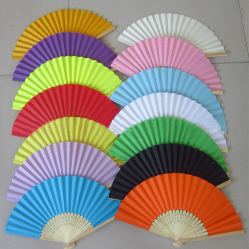 Summer Chinese Style DIY blank Hand Paper Fans Pocket Folding Bamboo Fan Wedding Party Decor for gife dance fan