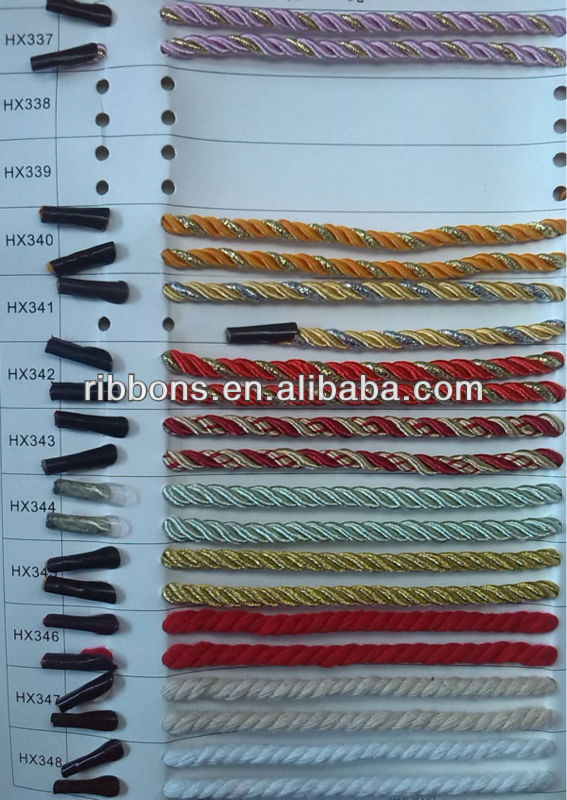 twisted rope 6mm elastic rope cord with two metal hooks on each end