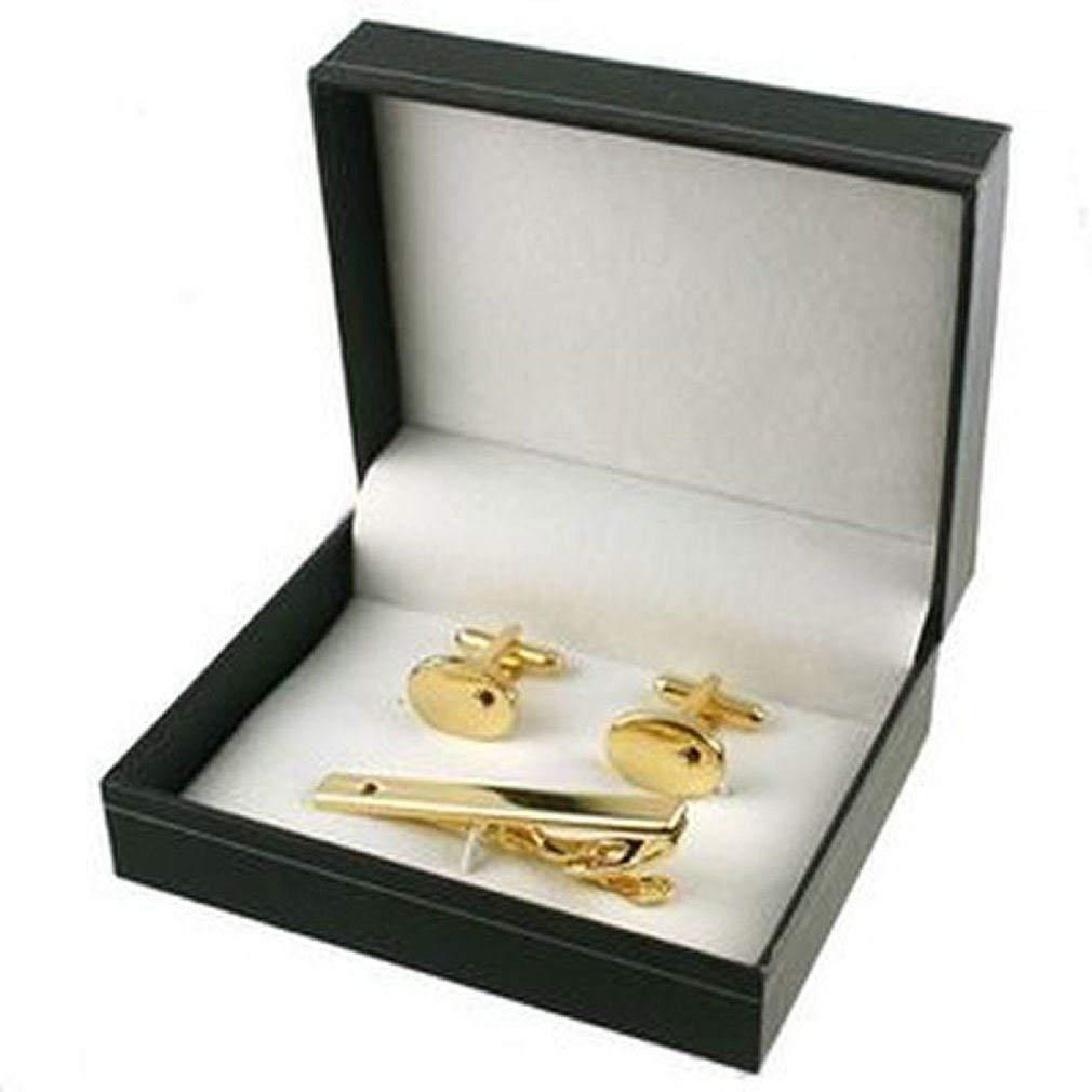 Cufflinks for men Gift set~Ruby Gold-tone Cufflinks & Ruby Gold-tone Tie Bar Gift Set