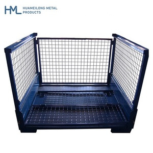 Zinc plated lockable warehouse storage industrial wire mesh containers with gate locking mechanism for auto parts