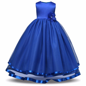 High-grade pure girl wedding dress Blue Flower baby girl dress birthday evening party dress for 12 years kids