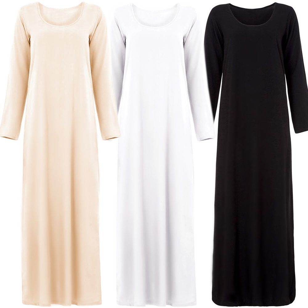basic abaya inside wear cotton inner long sleeve opaque abaya jalabiya arabic dress