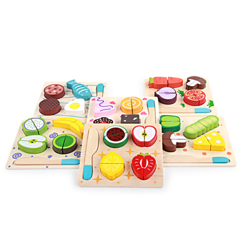 Montessori kids role play game simulation kitchen food toy wooden cutting fruit /vegetables puzzle