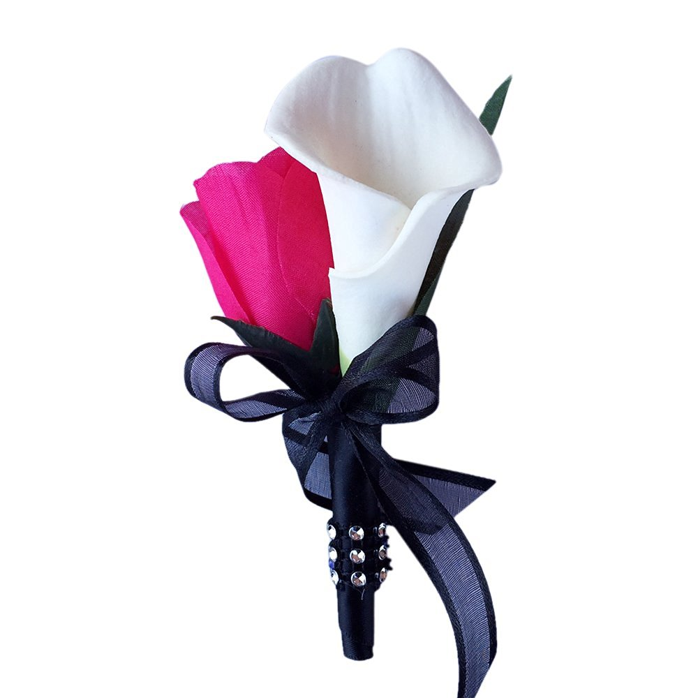 Cheap calla lily and rose find calla lily and rose deals on line at get quotations boutonniere hot pink rose with white calla lily boutonniere balck ribbon with pin for prom izmirmasajfo