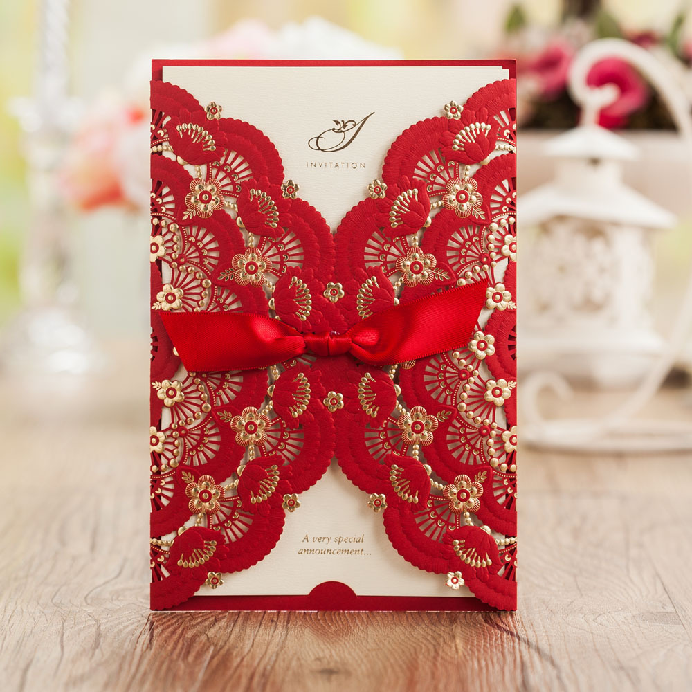 Printable Wedding Invitations Designs With Red And Silver: Elegant Red Lace Wedding Invitations Gentle Invite Cards