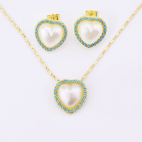 latest heart shape pearl earring and necklace set