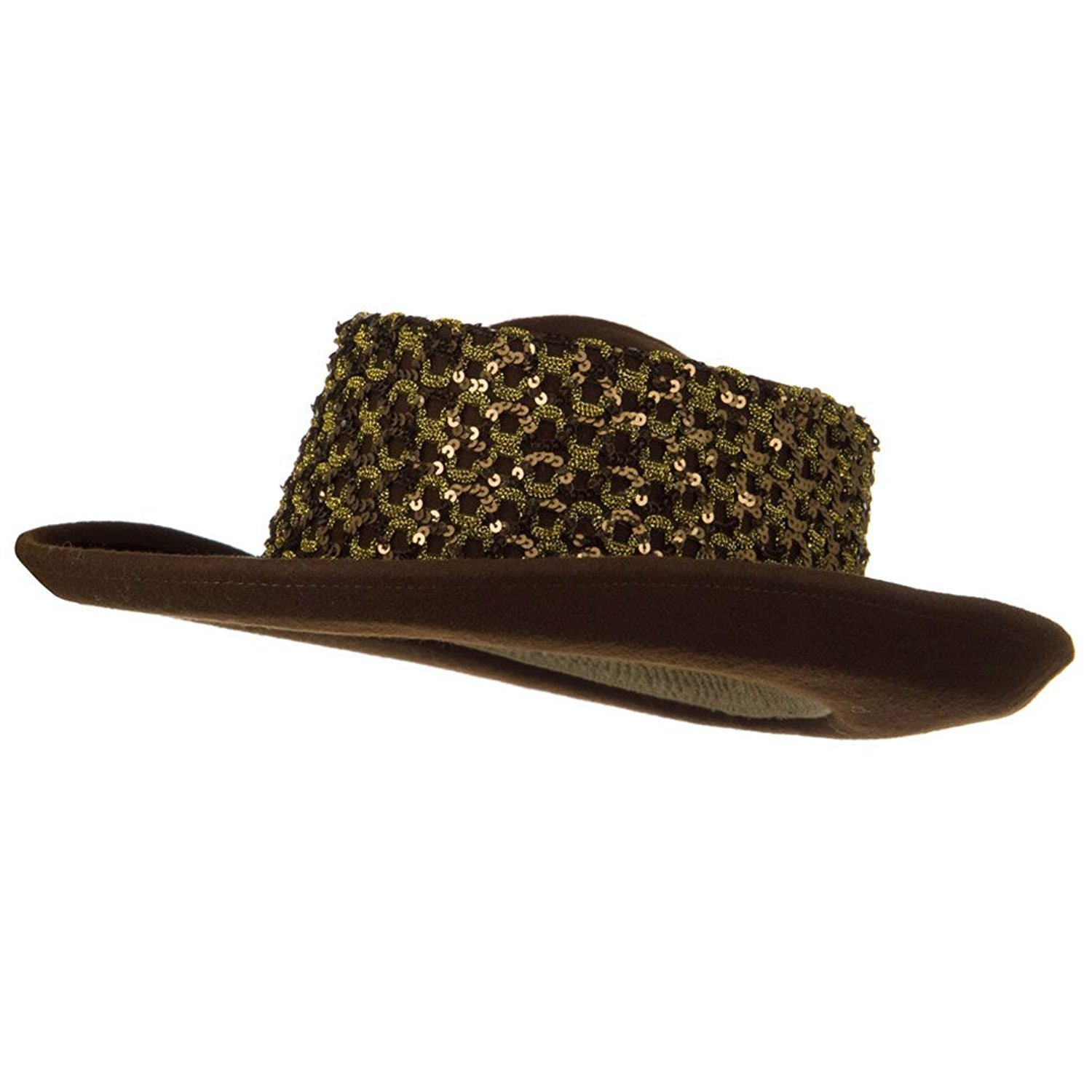 a17ac5a40ad Get Quotations · Sequin Band Wool Felt Hat - Brown W19S33F