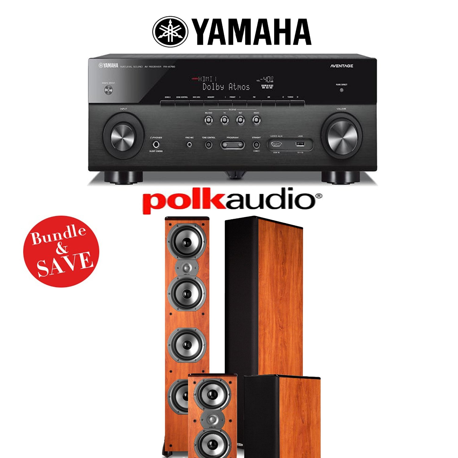 Yamaha AVENTAGE RX-A760BL 7.2-Channel Network A/V Receiver + Polk Audio TSi 500 (Cherry) + Polk Audio TSi 200 (Cherry) Home Theater Package