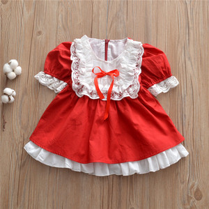 Fashion Spanish Palace Style Kid Girls Dress Lace Children Girls One Pieces Dress